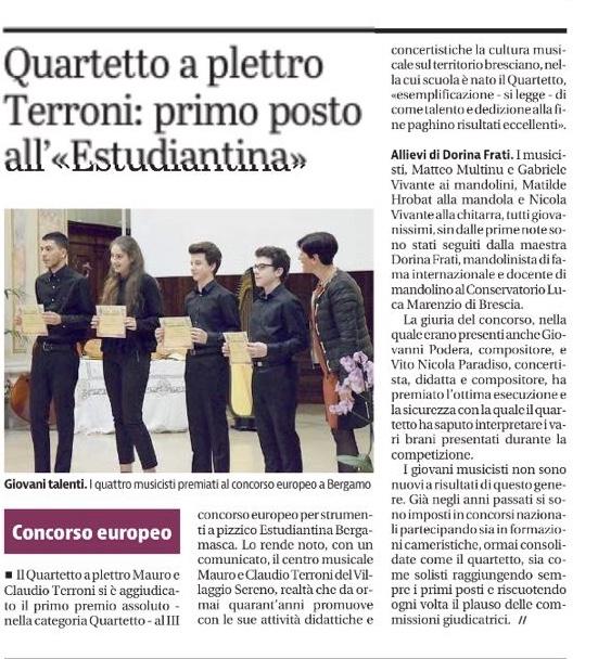 III Concorso Europeo per strumenti a pizzico Estudiantina Bergamasca