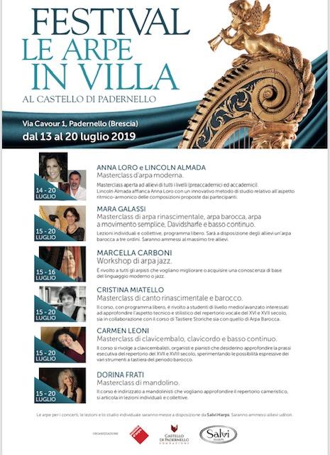 Festival Le arpe in villa  – Masterclass Mandolino – Docente Dorina Frati