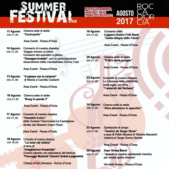 Rocca D'Orcia Summer Festival 2017