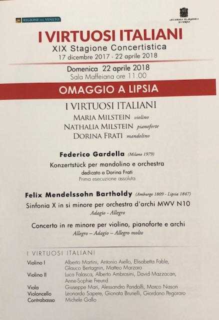 Concerto con I Virtuosi Italiani – Prima esecuzione assoluta del Konzertstuck per mandolino e orchestra di Federico Gardella